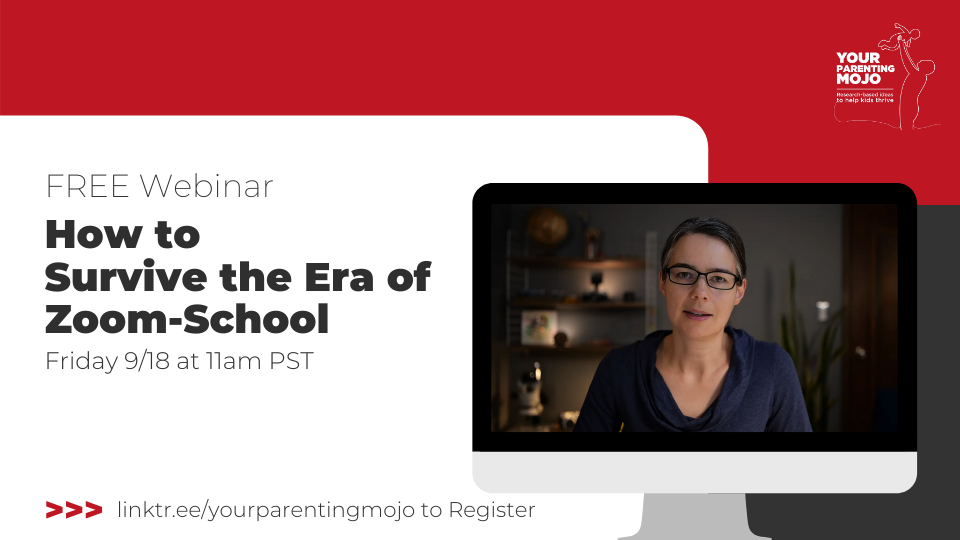 "Composite image promoting Your Parenting Mojo's Free webinar. An image of Jen is on an iMac screen on the right and the details of the webinar is on the left it says ""FREE Webinar How to Survive the Era of Zoom-School Friday September 15 at 11am Pacific. A url to linktr.ee/yourparentingmojo.com is written at the bottom telling people to the webinar there"